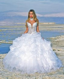Wholesale Big lace dress wedding dress a line the white backless dress v neck beads design the most beautiful bride W1