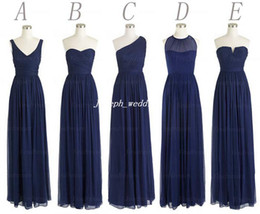 Wholesale Real Sample Picture Styles Chiffon Floor Length Long Dark Navy Blue Bridesmaid Dress Women Gown BD336