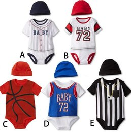 Wholesale hot sale new Baby Rompers Boys Baseball Basketball Sport one pieces Romper baby short sleeve bodysuit jumpsuit babywear with cap