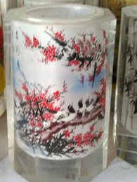 Wholesale 2016 New glass craft pen container for writing brushes inner Chinese traditional landscape paintings glass handicraft artwork