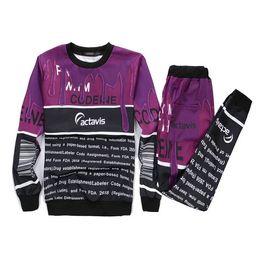 Wholesale-Women men's 3d print bar code coffee milk sweatshirt+sweatpants sport suit emoji joggers pants sweatsuit tracksuit sets