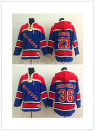 New York Rangers #21 Derek Stepan,#36 Mats Zuccarello Blue Hooded Hockey Jersey Authentic Stitched Embroidery logos Jerseys