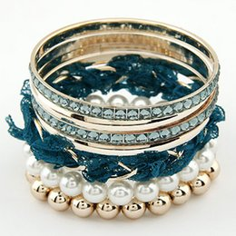 New arrival fashion cloth pearl bangle bracelet sets jewelry gold plating bangles fashion women jewelry wholesale