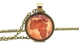 Wholesale 10pcs Africa Antique Map Jewelry Glass Cabochon Necklace