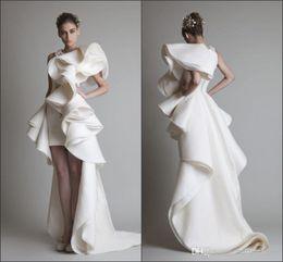 Wholesale Unique Design Wedding Dresses With Jewel Appliques Ruffles Sheath Hi Lo Organza New Customed White Ivory Krikor Jabotian Bridal