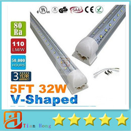 Wholesale T8 FT W V Shaped Led Tube Light Double Glow m Integration For Cooler Door Led Lights Tubes AC V Transparent Cover