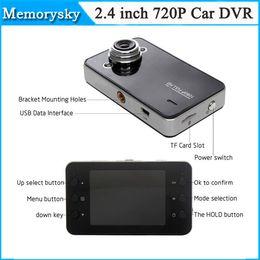 Cámaras de guión recuadro negro en Línea-nueva venta 10PCS K6000 HD 720P del coche DVR de la cámara del vehículo del video de 25fps 2.4 pulgadas TFT LCD del envío Dash Cam Negro Box Car DHL 002778