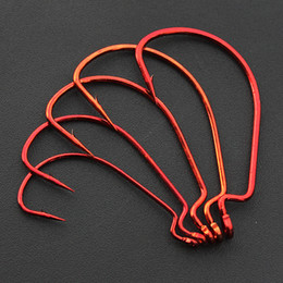 Fishing Hooks Red Crank Hook Lure Soft Bait Fishhook Size 1 0#-5 0# High Carbon Steel Lot 100 Pieces