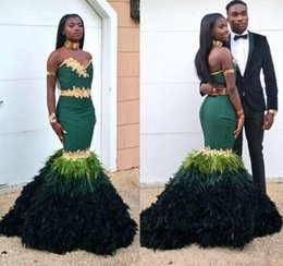 Wholesale 2015 New Dark Green Mermaid Prom Dresses With Gold Lace Appliques Sweetheart Slim Bodice Gradient Ramp Feather Evening Gowns Celebrity Dress