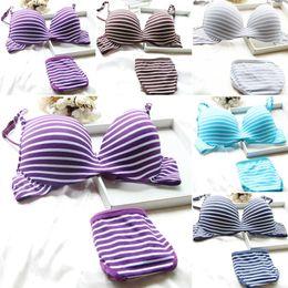 Wholesale Striped Bra Panties Set - 151202 Sexy Women Underwired Bra Underwear Striped Padded Push up Bra Sets Panties