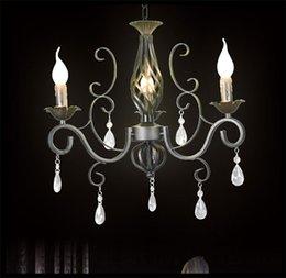 Wholesale Rustic Iron Crystal Chandelier Black Candelabra Vintage Antique Art Deco Sconce Pendant Lamp clea lustre pendant lights modern