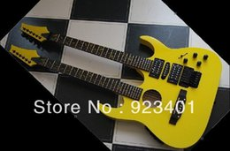Wholesale best Factory Mahogany guitar Gloss Yellow Double neck Acoustic electric guitar Combo