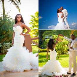 Trumpet Plus Size Wedding Dresses Low Back Sexy Beach Bridal Dresses Sweetheart Pleated Organza Ruffles Chapel Train Wedding Gowns