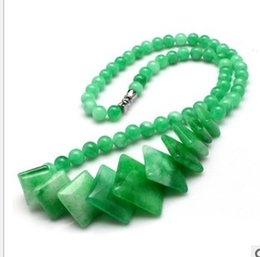 wonderful natural green jade pendant beads chain necklace (88)