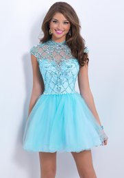 Wholesale A Line Tulle Beaded Baby Blue Homecoming Dresses Rhineshone princess Sleeveless Prom Party Cocktail Gowns for graduation party