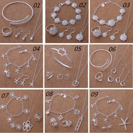 Wholesale Fashion New Sterling Silver Jewelry Sets Starfish Apple Flower Heart Bracelet Necklace Earring Ring Jewelry Sets Bridal Jewelry Sets