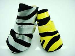 Wholesale Dog Shoes Pet Footwear Dog boots Indoor shoes PU Zebra Pet Shoes Yellow Silver Soft Sole Velcro