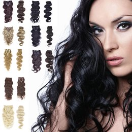 "7A 14""- 26"",8pcs Unprocessed Brazilian remy Hair body wave clip-in hair remy human hair extensions, 12 colors for choose ,120g set,"