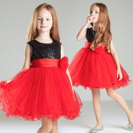 Black Red Short Kids Formal Gown Sequin Tulle Cheap Simple Little Girl Pageant Dress Custom Made