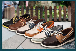 Wholesale Sperry Top Sider Genuine Leather Men Sail Boat Shoes Fashion Casual Patchwork Low cut Lace up Flats