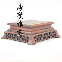Wholesale Qingxin elegant wooden side table Rosewood carved jade bonsai teapot wood ornaments mahogany base