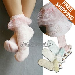 Wholesale Lace Free 7years Girl - Wholesale-Free shipping! Children kids Girls' 80%cotton thin socks. Lace mesh linking socks. 2-7years. 4colors.min 12pcs order.