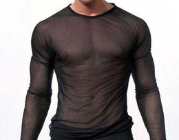 Wholesale-clubwear long sleeve mesh Men T-shirt stretchy sheer Man see through tops