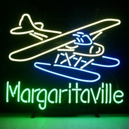 Wholesale 17 quot x14 quot Jimmy Buffett Margaritaville Airplane design Real Glass Neon Light Signs Bar Pub Restaurant Billiards Shops Display Signboards