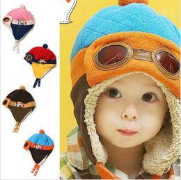 Wholesale Toddlers Warm Flight Cap Hat Beanie Cool Baby Boy Girl Kids Infant Winter Pilot Aviator Cap