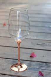 Wholesale-597ml drinking glasses set with rose gold stem