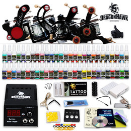 Tattoo kits 4 tattoo machines power supply 54 inks sets grips tips disposable needles HW-7GD