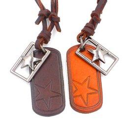 Stars Adjustable Leather Necklace Metal Pendant Charms Punk Rock Hiphop Decorations Amulet Bohemian Fashion Jewelry 10Pcs