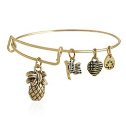 Wholesale Alex and Ani PINEAPPLE Russian Silver Charm Bangle New Expandable Wire Bangle Bracelet Jewelry for Women
