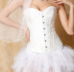 Wholesale-Corset Overbust Waist Training Corsets Top Body Shaper Black,White Gothic Corselet Plus Size Bridal gown Shapewear Body shapers