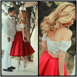 Vestido Coctel Corto White Lace with Red A-Line Two Piece Homecoming Dress Knee Length Short Homecoming Dresses