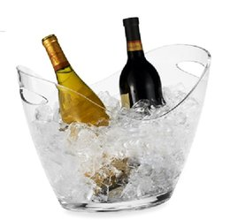Wholesale fashion bar Plastic Acrylic ice bucket Red wine ice Coolers beer ice Coolers Transparent ingot ice Coolers