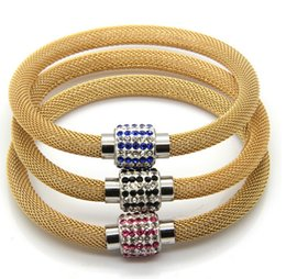 Fashion Red Blue Black CZ Wide Full Crystals magnet Clasp Design Gold Bracelets Stainless Steel Wire Cuff Bangle
