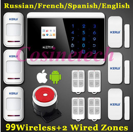 Wholesale Secure Gsm Alarm - KERUI 8218G alarm English France Spanish Russian Wireless Touch Keypad LCD Display GSM PSTN Home Secure Voice Alarm ios Android app control