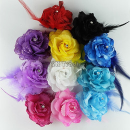 New Fake Flower Glitter Powder Pretty Artificial Flower Feather Decoration Rhinestones Rose Mix Colors Free Ship