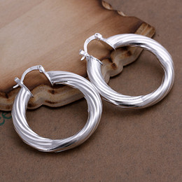 Fashion 925 Sterling Silver EARRINGS Lovely Twist Circle EARRINGS JEWELRY