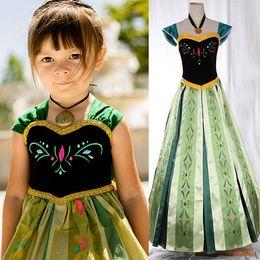 Wholesale 2015 Frozen Snow queen Anna Cosplay Costume frozen anna coronation dress kids gown dress Deluxe Cosplay frozen embroidered dress