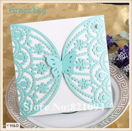 50PCS Free shipping Laser Cutting Flower with butterfly Paper Wedding Business Birthday Party Invitation Card with Inner Paper Blank Sheet