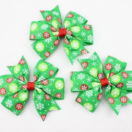 green red kids girl Christmas hair ring accessories with snowflake Christmas hair band 7.5*4.5cm Barrettes fashion party headwear 100pcs