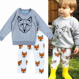 2016 Bobo Choses fox 2pcs Set Baby spring Autumn Cartoon Animal Fox Printed clothes Kids gray shirts + white Pants Children outfit
