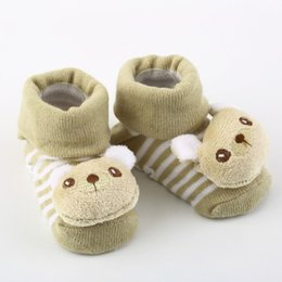 1 pair with non-slip rubber-soled Cartoon Baby Socks Newborn Unisex Slipper Shoes Boots New