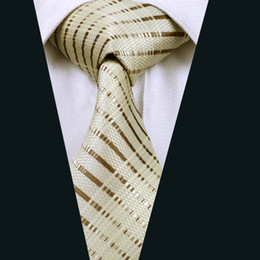 Brown Stripe Mens Silk Ties 8.5cm Width Jacquard Woven Business Formal Work Meeting Wholesale D-0656