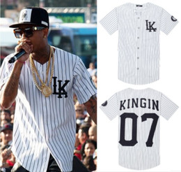 Wholesale-2015 Men's Last Kings Baseball Shirts Man Summer Style Kanye West Hip Hop t-shirt Men V-neck Button Up Sports Clothes