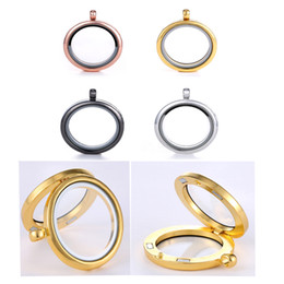 Fashion Stainless Steel Glass locket pendants Necklaces living magnetic floating charm Circle locket for women Necklaces