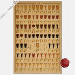 Wholesale Beer figure Vintage Poster Home Decor Paper Art Painting Picture Bar cafes restaurant Decoration Retro Wall sticker cm