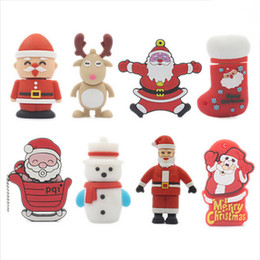 Cadeau de Noël Usb Flash 8 Go 16 Go USB Flash Drive Cartoon Santa Claus Et Chaussettes USB 2.0 Mémoire Flash 8 modèles PenDrive Wholesale à partir de 32gb de bande dessinée fournisseurs
